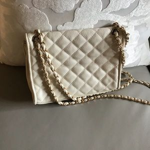 Cream quilted crossbody bag